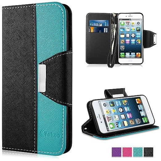 18 opinioni per iPhone SE Custodia- Vakoo iPhone 5S Cover flip a portafoglio in pelle sintetica
