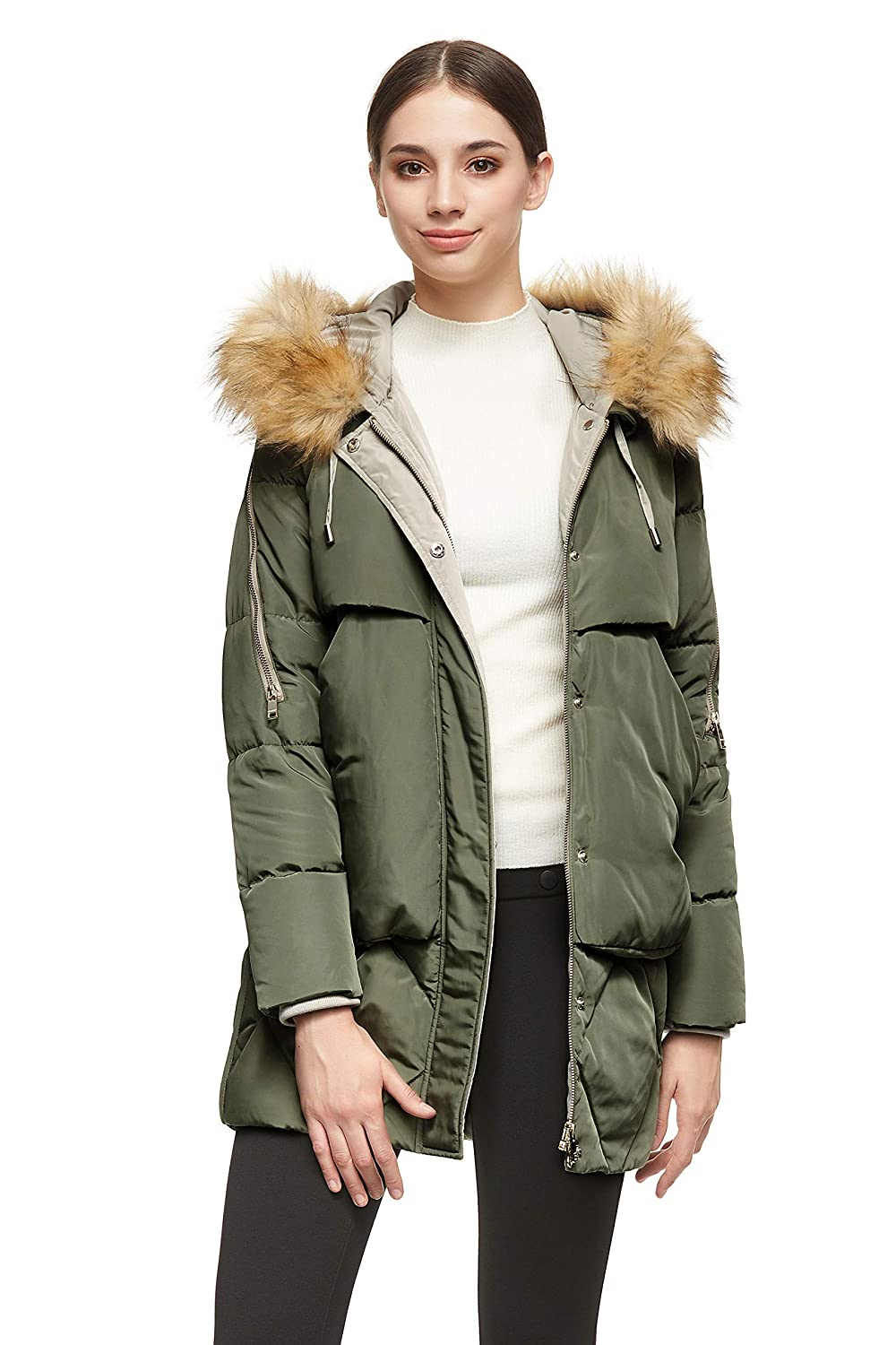 Orolay Women/'s Thickened Mid-Length Down Jacket with Removable Fur Hood Large Pockets