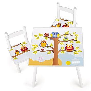 Set da cameretta per bambini tavolo e 2 sedie in legno motivo gufi ...