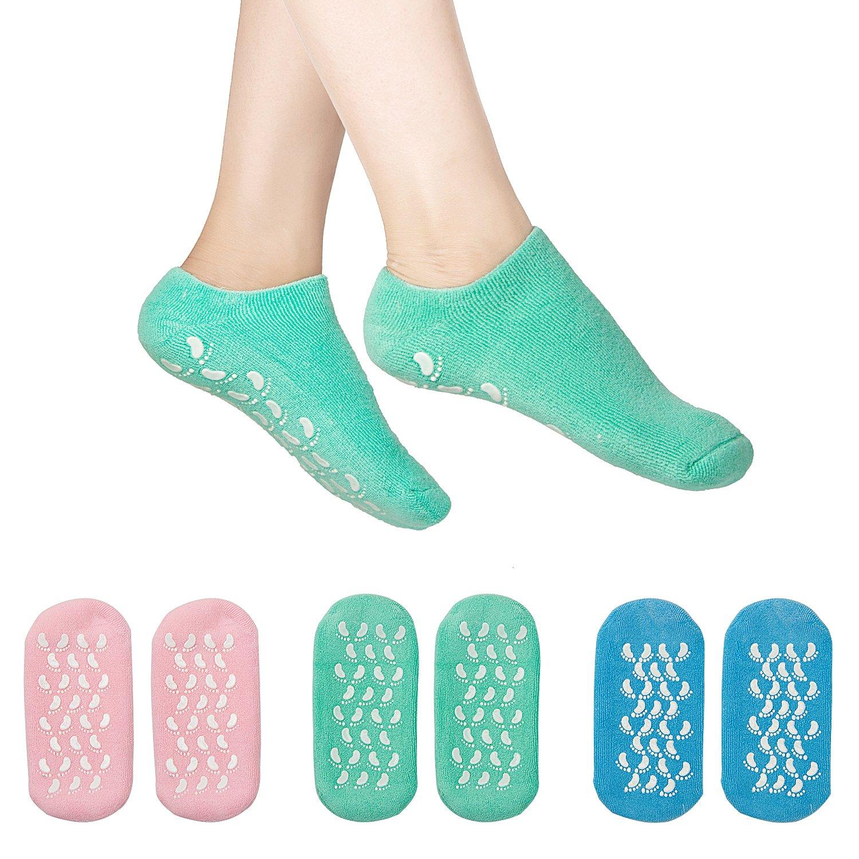 Madholly 3 Pairs Moisturizing Gel Socks, Soft Hypoallergenic Spa Gel Socks for Repairing Dry Cracked Skins