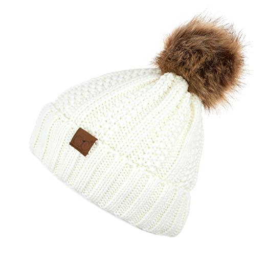 c3ddc797558 C.C Exclusives Fuzzy Lined Knit Fur Pom Beanie Hat (YJ-820) (Ivory) at  Amazon Women s Clothing store