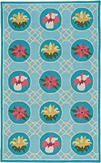 product image for Capel Lattice Sky Blue 3' x 5' Rectangle Loop Hooked Rug