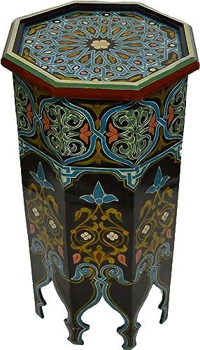 Moroccan Wood Side End Table Corner Coffee Handmade Hand Painted Moorish Tall Black