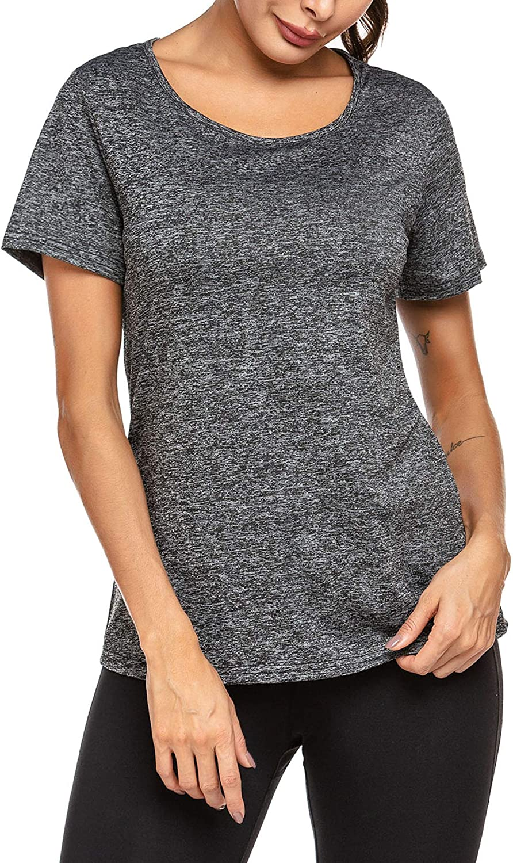 ADOME Athletic Shirts for Women Short Sleeve Running Shirt Moisture Wicking Shirts Crewneck Workout T Shirts