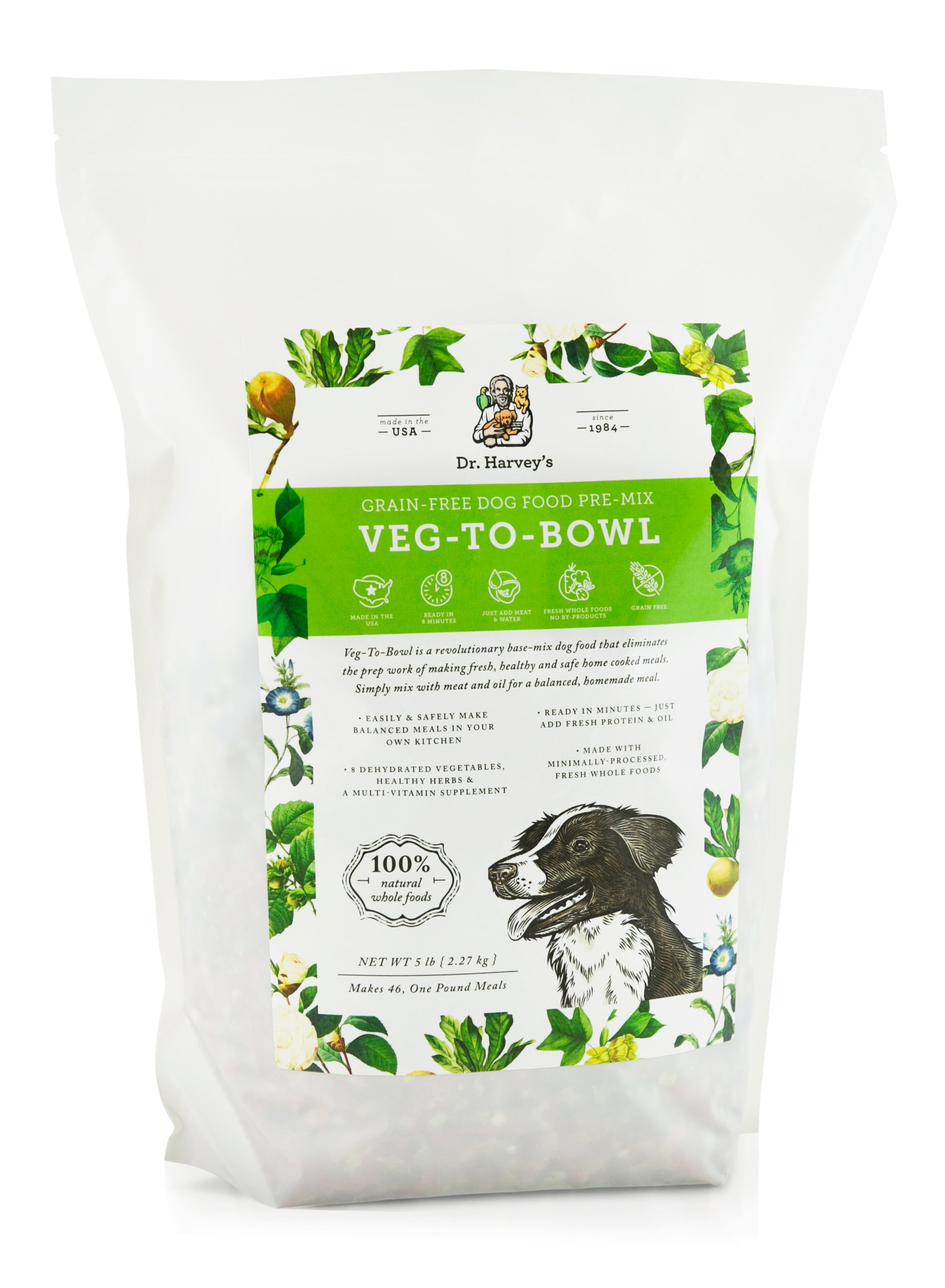 Dr. Harvey's Veg-to-Bowl Dog Food, Human Grade Dehydrated Base Mix for Dogs, Grain Free Holistic Mix (5 Pounds) by Dr. Harvey's