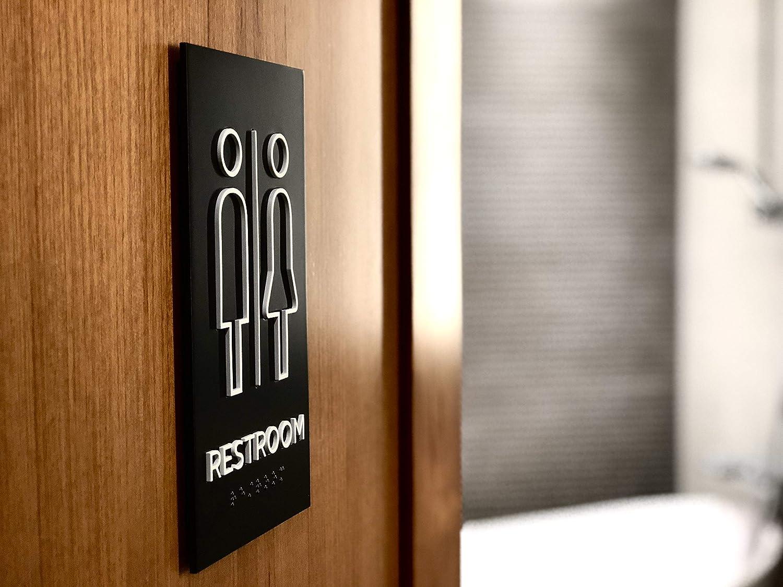 Kubik Letters Men Restroom Sign Modern Door Sign for Mens Restroom with 3M Double Sided Tape ADA Compliant Braille Tactile Sign
