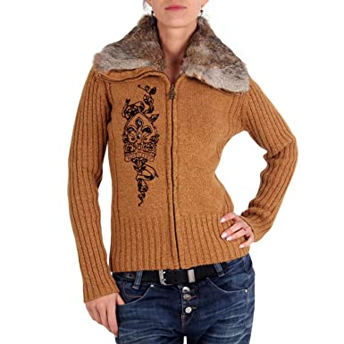 cac7a342620db wow NINELIVES Damen Strickjacke Pretty Anarchy Light Brown 23T5302 136  Größe S