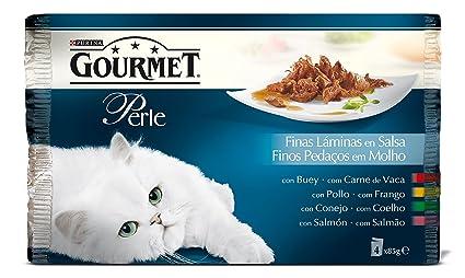 Purina Gourmet Perle Finas Láminas comida para gatos en Salsa Surtido de Carnes 4 x 85