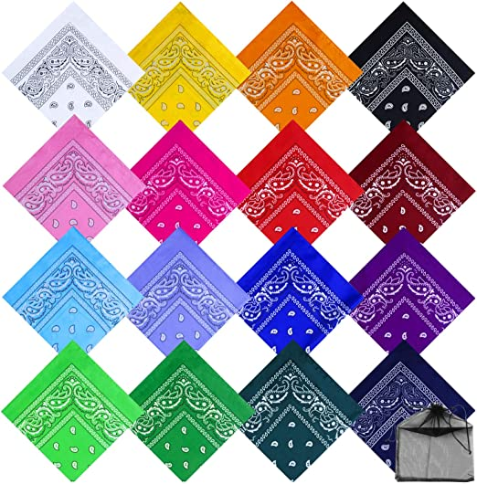 Color D Boao 12 Pieces Novelty Gradient Bandana Classic Paisley Cotton Handkerchief