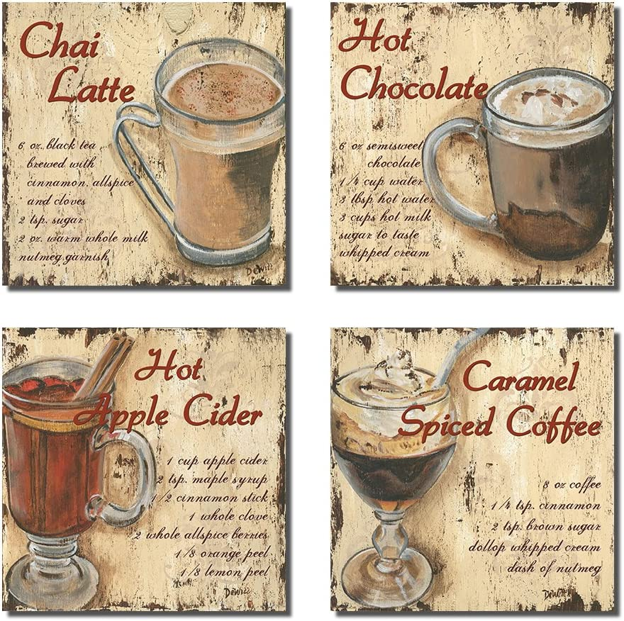 Purple Verbena Art Coffee Cup Wall Decor Canvas Prints Chai Latte Hot Chocolate Hot Apple Cider Paintings on Canvas 4 Panel Framed Coffee Themed Wall Art 12x12inch,Framed