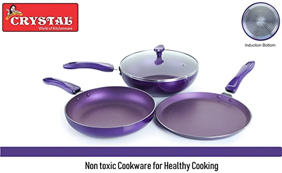 Crystal Vivid Aluminium Induction Base Non-Stick Cookware Set, 3-Pieces, Purple Kadhai & Woks at amazon