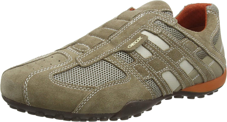 Geox Uomo Snake L, Zapatos para Hombre, Beige (Beige/Dk Orange C0845)