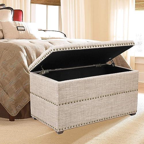 Deco De Ville Ottoman Home Storage Bench Stylish Button Tufted Lift Top