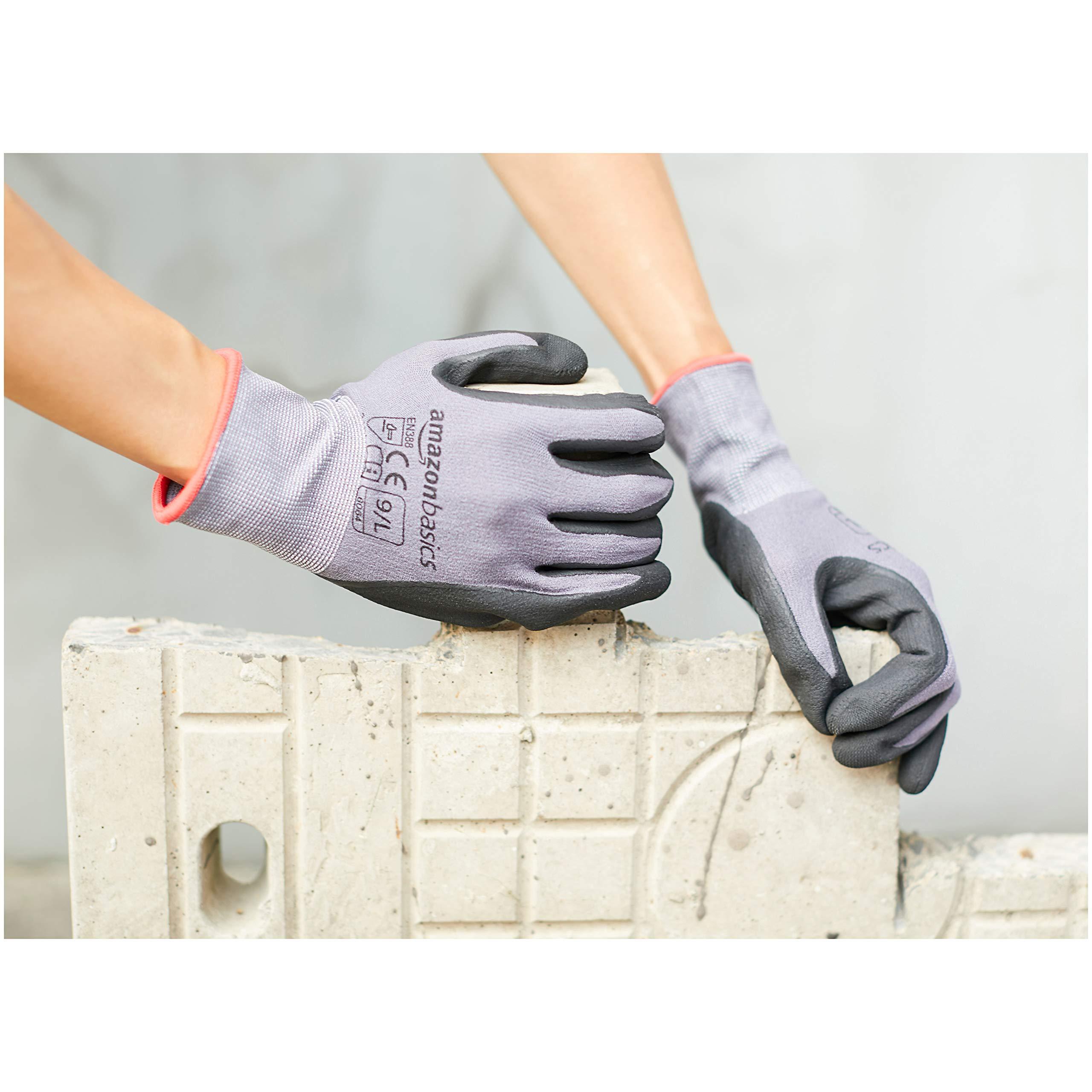 AmazonBasics Micro-Foam Nitrile Coated Work Gloves, Nylon Liner Fiber, Touch Screen, Grey, Size 9, L, 12-Pair by AmazonBasics (Image #2)