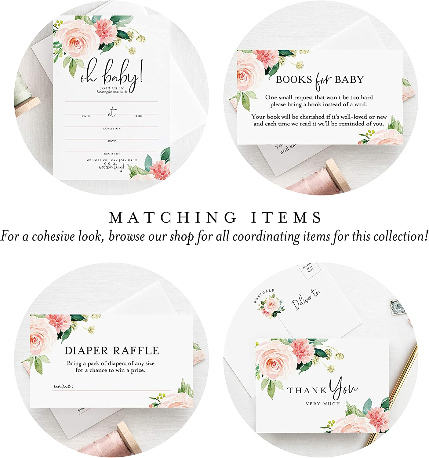 Boho Floral Game Insert 50 Pack Pink Flower Design from Bliss Paper Boutique Diaper Raffle Tickets for Baby Shower Girl