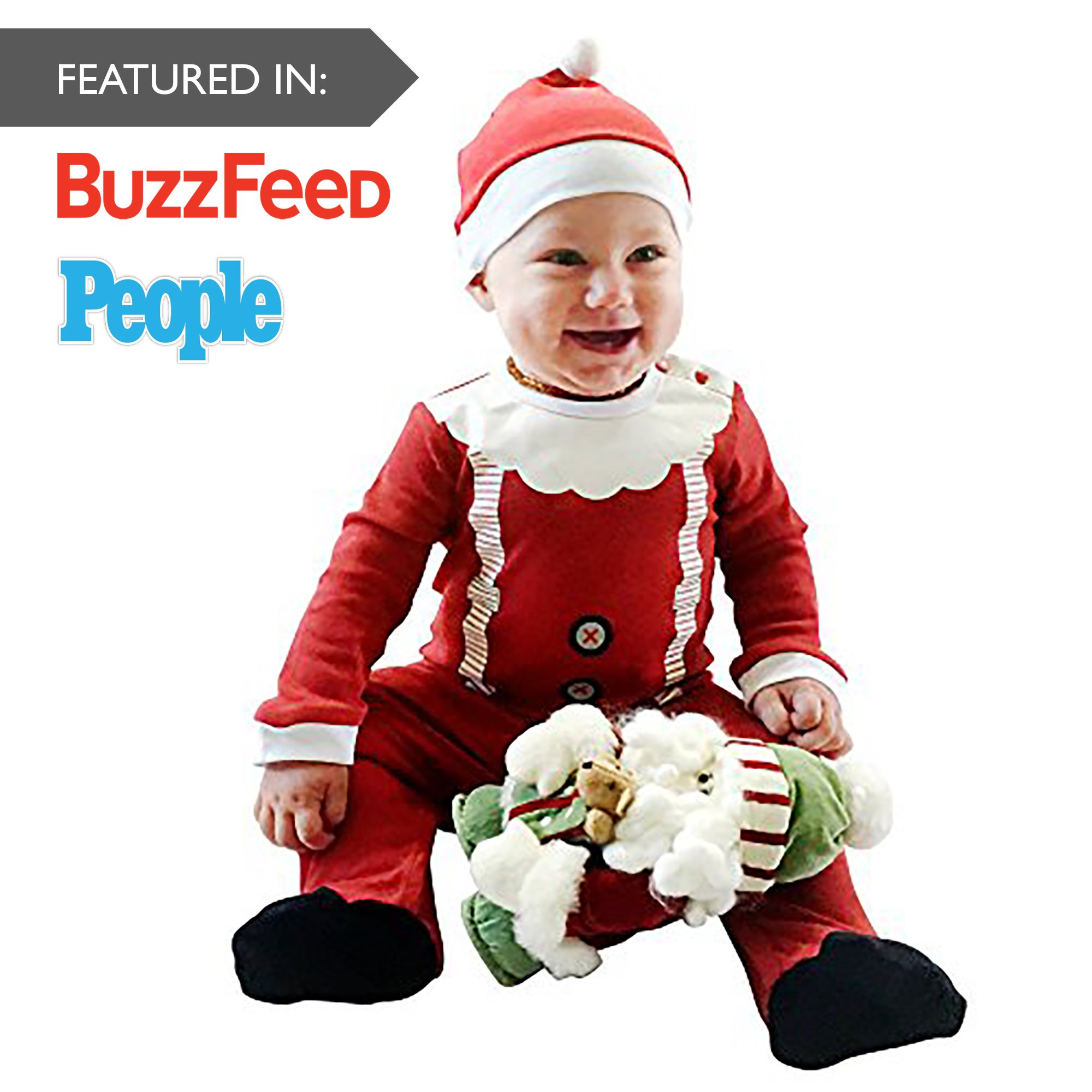 Fayfaire Christmas Pajamas Boutique Quality: Adorable Xmas Santa Suit with Hat 6-12M by Fayfaire (Image #3)