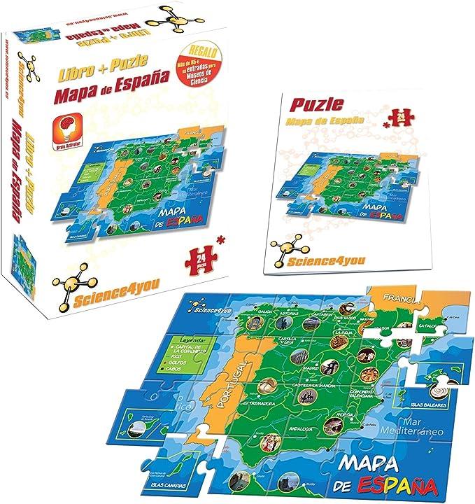 Science4you - Libro + Puzzle Mapa de España A4 - Juguete científico y Educativo: Amazon.es: Juguetes y juegos