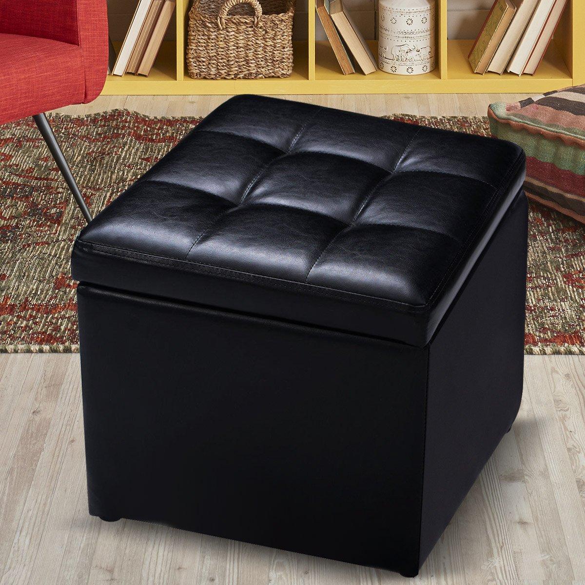 Giantex Cube Ottoman Pouffe Storage Box Lounge Seat Footstools with Hinge Top (Black)