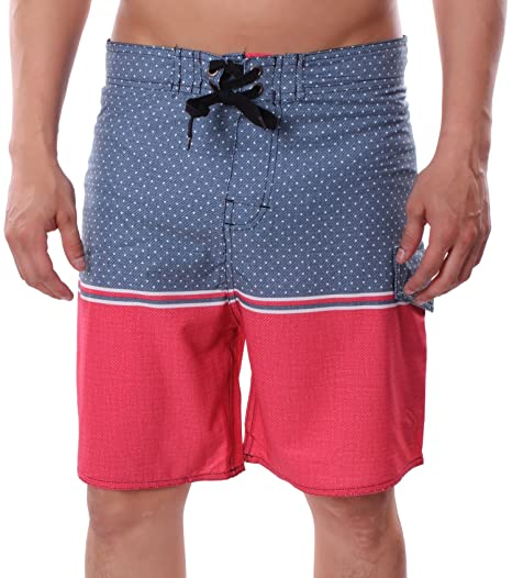 5a1d479168 Banana Split Men's Board Shorts Swim Trunks Unlined Cargo Pocket 4 Way  Stretch Beach Blue | Red Large | Amazon.com