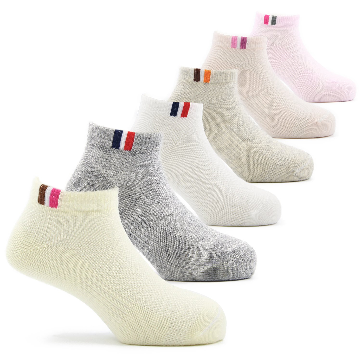 Toddler Girls Cotton Ankle Socks Kids Short Socks 6 Pack 3T