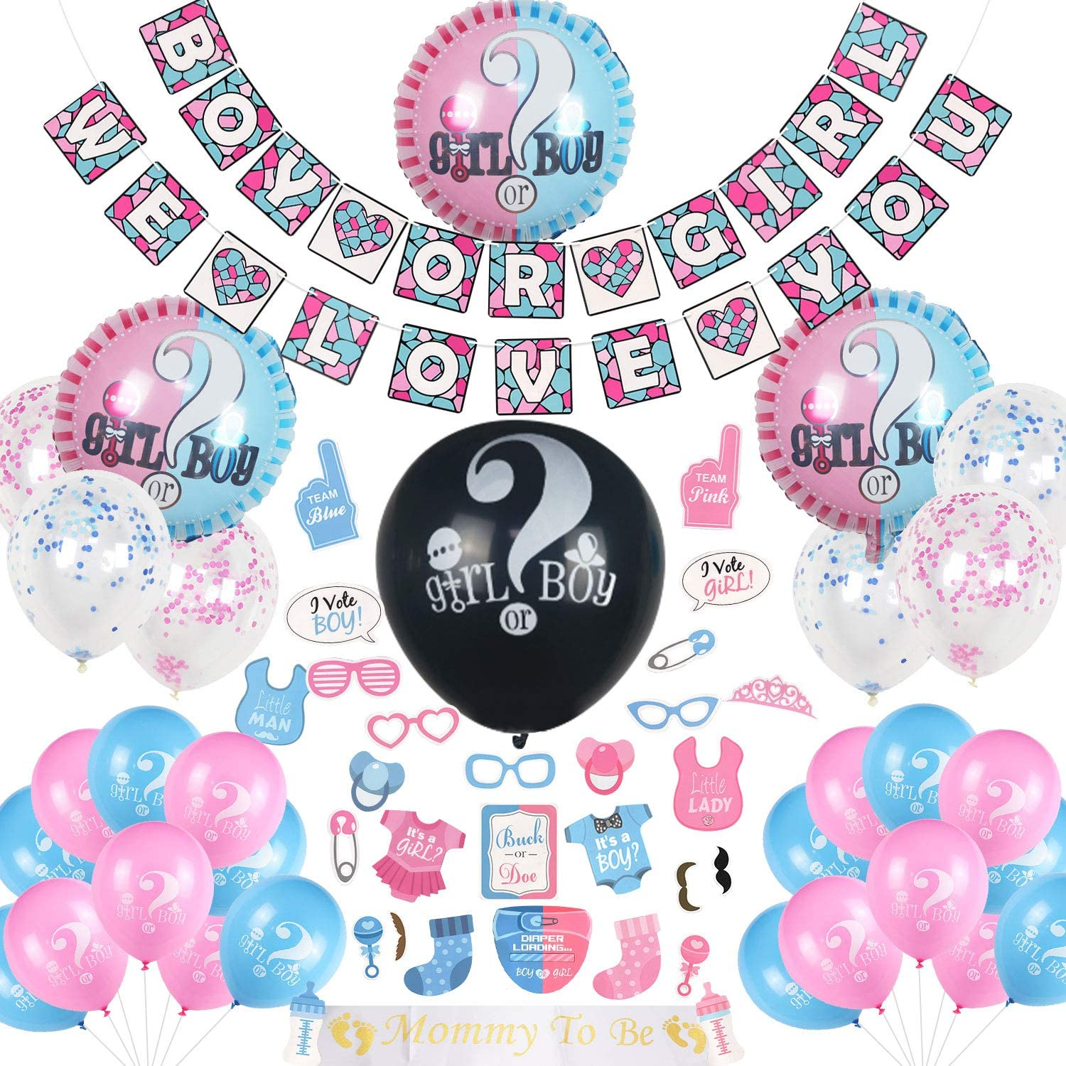 "Gender Reveal Balloons, 12 PIXEL Products 12/"" Latex /'Boy or Girl/' Baby Shower"