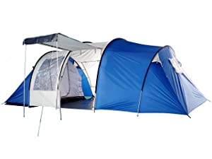 Peaktop 6-8 Person 2+1 Room Hiking Camping Tunnel Family Tent Fully sewn PE groundsheet