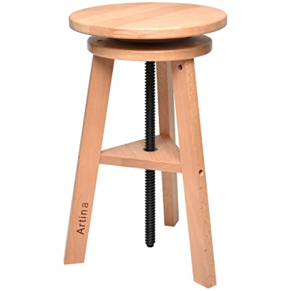 Superb Artina Solid Wood Stool Arles Rotating Artist Swivel Chair Height Adjustable From 42Cm To 60Cm Painting Stool Taboret Round Andrewgaddart Wooden Chair Designs For Living Room Andrewgaddartcom