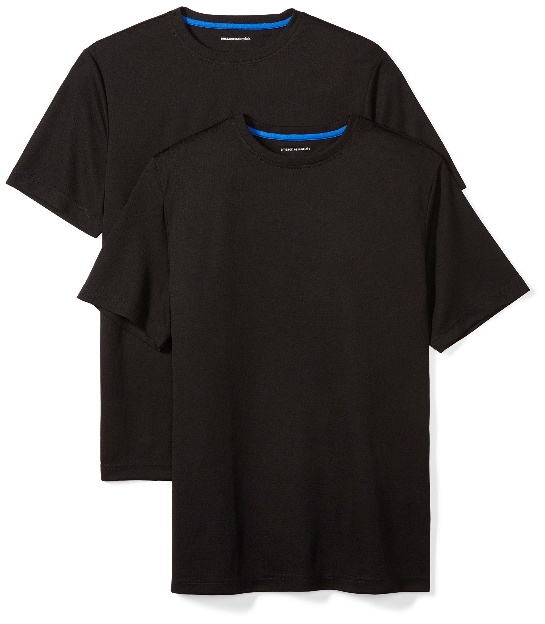 Amazon Essentials Men's 2-Pack Performance Short-Sleeve T-Shirts, Black/Black, Large
