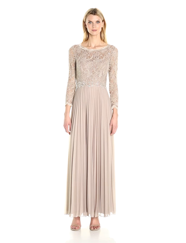 Amazon.com: Cachet Women\'s Pleated Lace Gown: Clothing