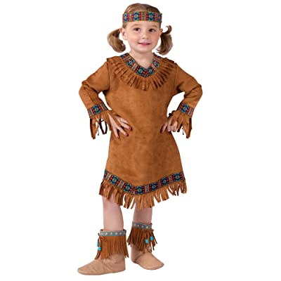 Fun World Costumes Native American Toddler Girl Costume, Brown, Large (3T-4T): Toys & Games