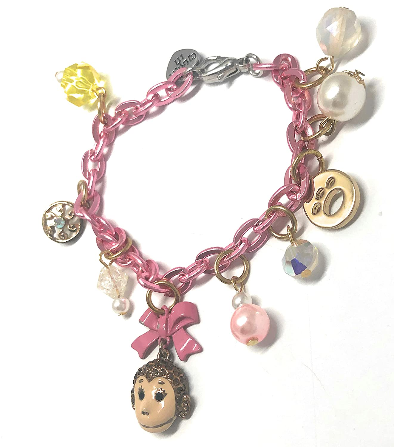 Nicevsnaughty Monkey Pink Bow Princess Charm Kawaii Japan Bracelet