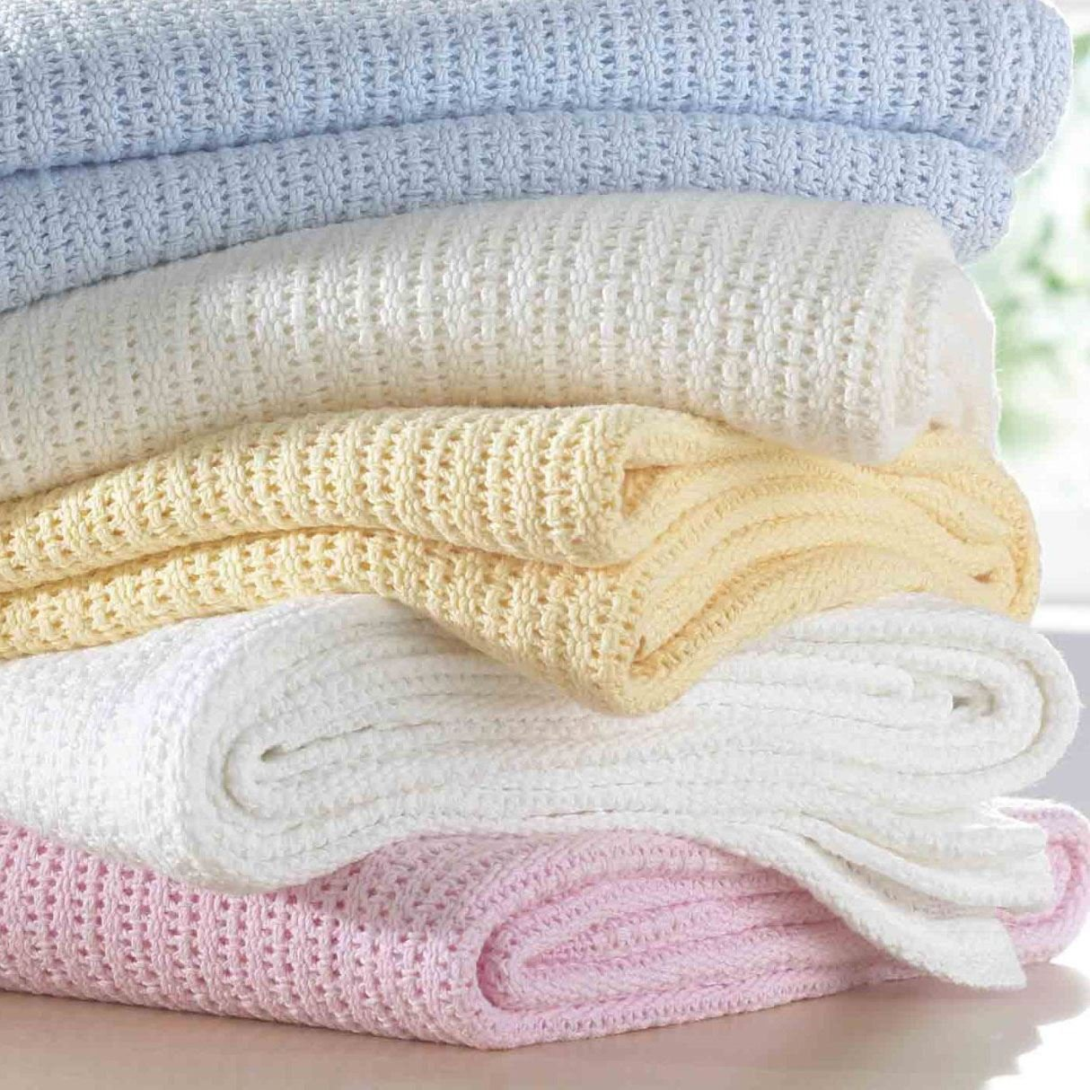 Big New Born Baby Blanket - 100% Warm Cotton Cellular - for Girls and Boys - Ideal For Travel Cot Bed, Pram, Stroller, Moses Basket, Crib - 70x90cm - Pink 2pack ASAB
