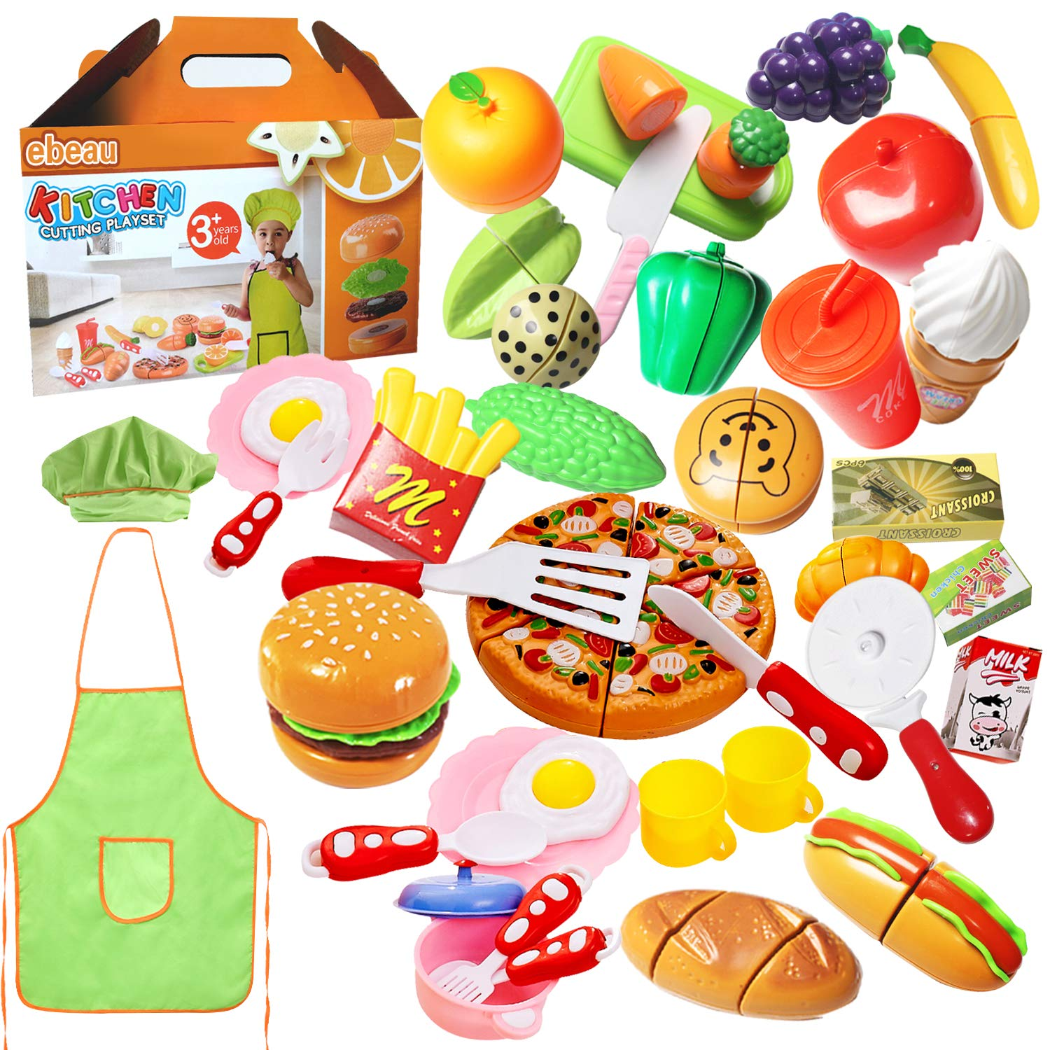 Play Food Set for Kids 40Pcs Pretend Cutting Fruits Food Playset Kitchen Cooking Sets Toys for Educational Learning Fake Plastic Foods for Toddlers Kids Girls Boys Inspiring Imagination with Apron Hat by ebeau