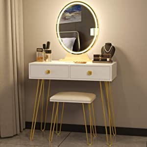 Vanity Table Set with 3 Color Lighted Mirror & Stool, Makeup Dressing Table with Touch Screen Dimming Mirror & 2 Drawers, Wood Modern Bedroom Makeup Desk for Women, Girl, White