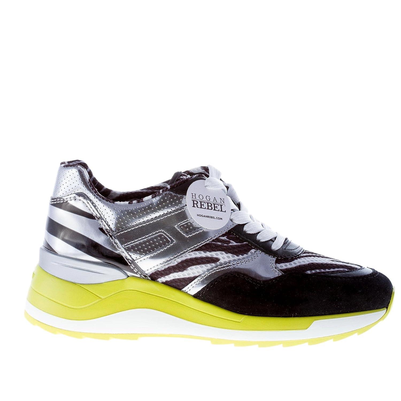 HOGAN scarpe donna women shoes Rebel maxy sneaker camoscio nero tessuto zebrato