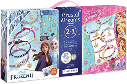 Make It Real - Disney Crystal Dreams Mega Set 2 in 1 Princess + Frozen 2 -  DIY Bead & Charm Bracelet Making Kit - Kids Jewelry Making Kit with ...