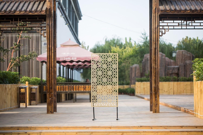 Decorativo Panel Protector de, Kayi Metal cortado con láser decoración de la pared jardín Hotel Seguridad separador, acero corten Rectángulo naturales oxidado sábana de 23.6 × 47.2inch diseño de flores: Amazon.es: Hogar
