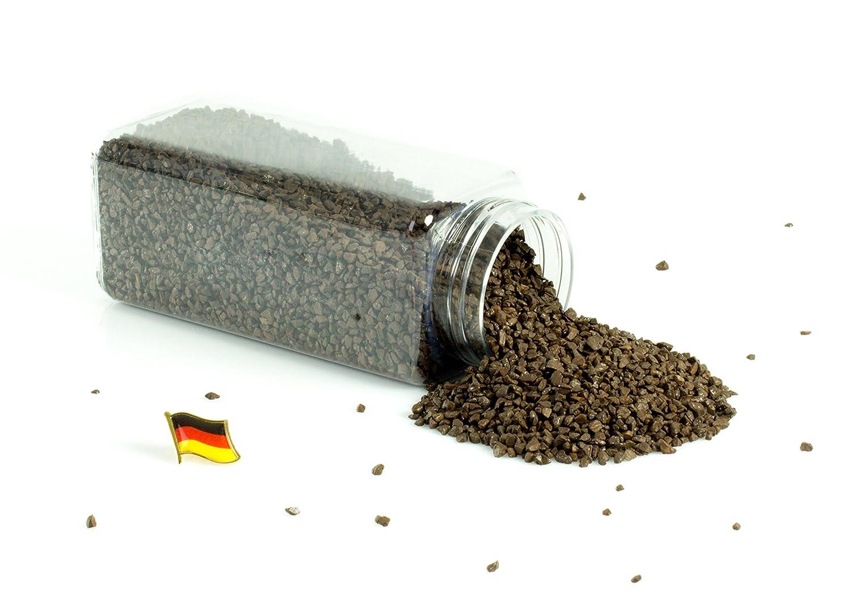 monsterkatz Set 3 x di Granulato decorativo/Pietre decorative ASLAN, marrone cioccolato, 3-8mm, Confezione da 605ml, Prodotto in Germania - Sabbia grossa colorata/Granulato colorato