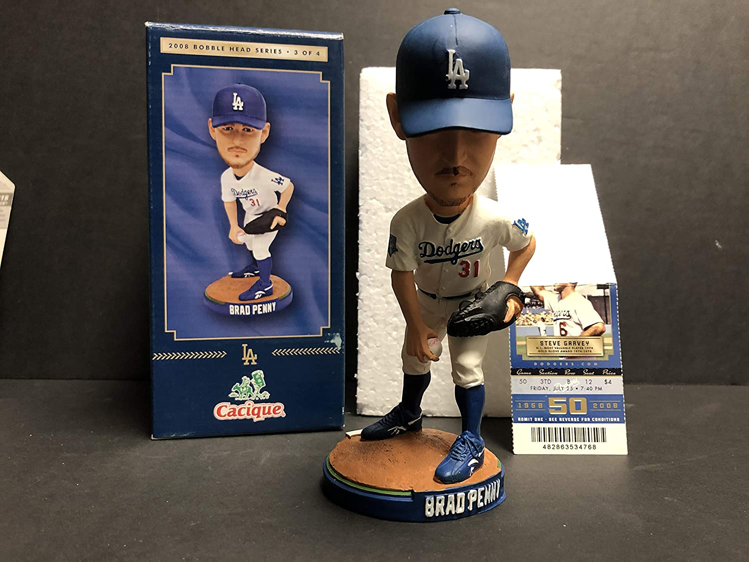 Brad Penny 2008 Los Angeles Dodgers Bobblehead SGA with HARD GAME TICKET