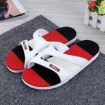 Playa zapatillas hombres zapatillas verano versión coreana de la antideslizante resistente plástico blow-back beach, masajear el rojo,40: Amazon.es: Hogar