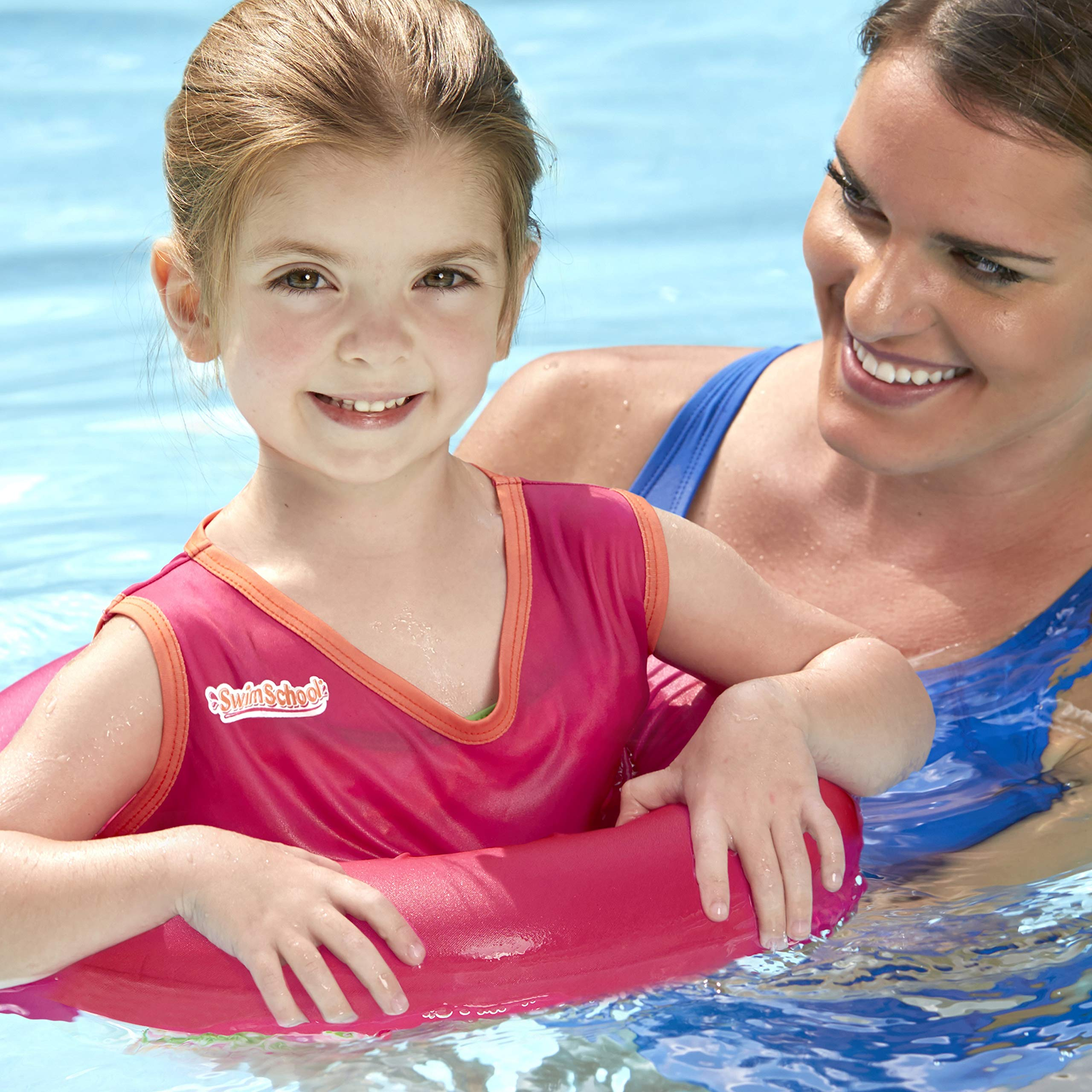 SwimSchool Deluxe TOT Swim Trainer Vest, Heavy Duty, Inflatable Tube with Adjustable Safety Strap, 2-4 Years, Raspberry/Pink by SwimSchool (Image #1)