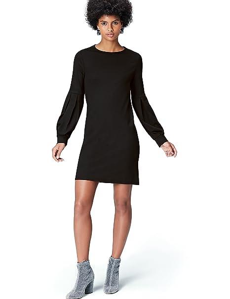 1136b43e6921 FIND Vestito con Manica a Palloncino Donna  Amazon.it  Abbigliamento