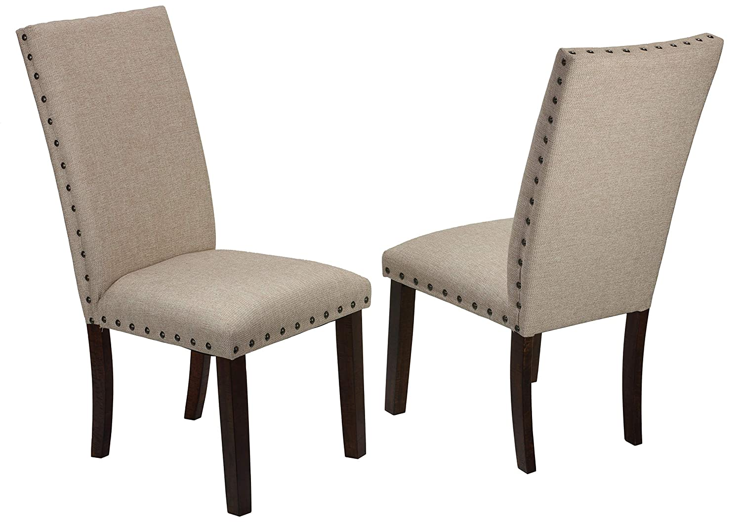 Cortesi Home Figi Dining Chair, Fabric with Nailhead Trim, Set of 2
