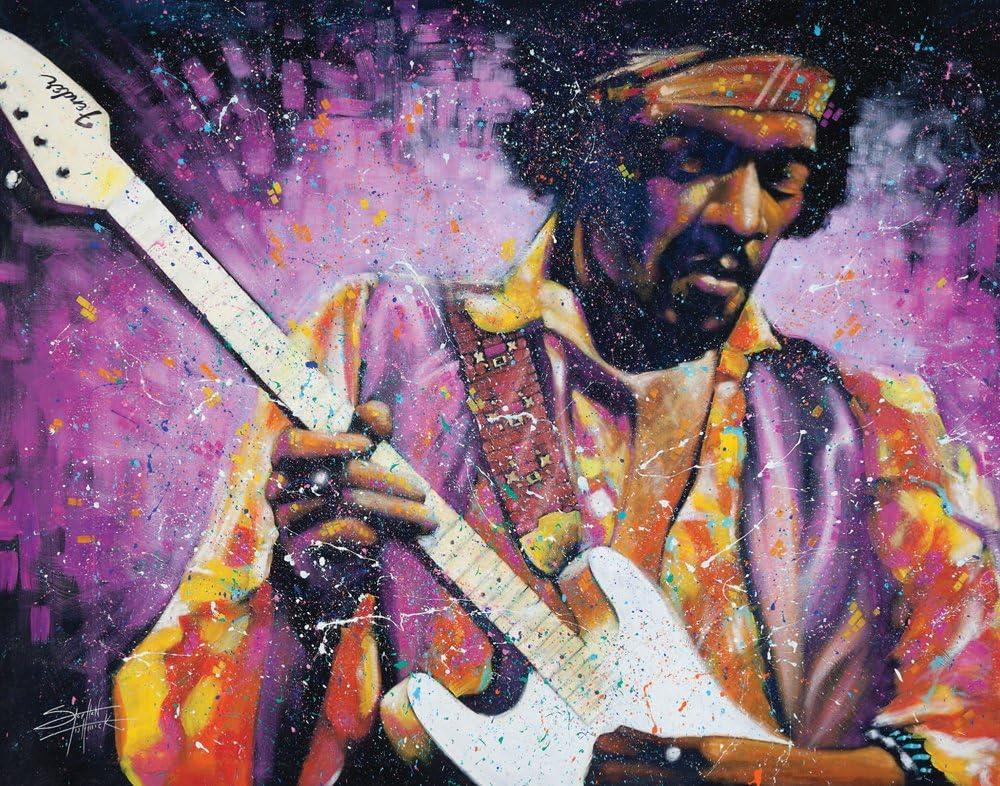 Stephen Fishwick Jimi Hendrix Watchtower Classic Rock Music Guitar Legend Celebrity Art Postcard Poster Print, Unframed 11x14