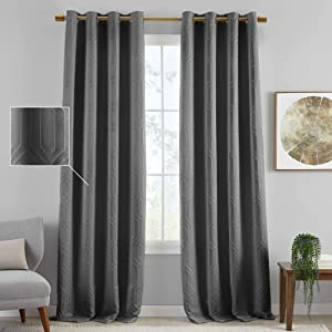 Elrene Home Fashions Sunveil Huxley Embroidered Textured Modern Geometric Blackout Thermal Grommet Top Window Curtain Panel for Living, Bedroom, Dining Room, 52