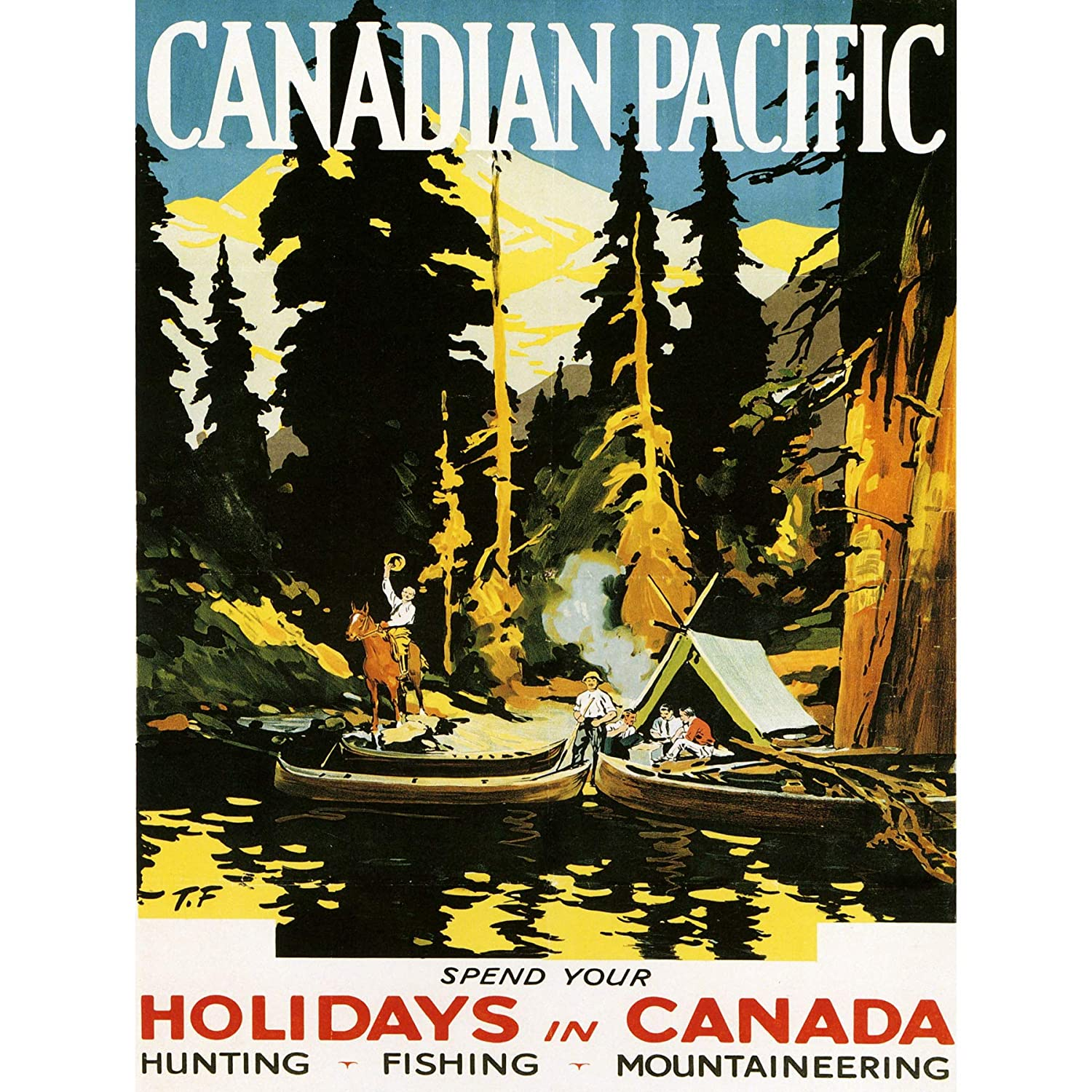 TRAVEL CANADA HOLIDAY VACATION LAKE BOAT FOREST GAME ART PRINT POSTER BB7468B Wee Blue Coo Prints