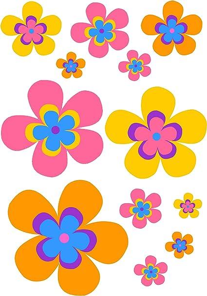 AWS 12 Pegatinas Flores Flor Flowers Pegatinas Impermeables para Coche Moto de Vinilo impresión de tamaño A4 Waterproof Stickers (Vinyl For Coche and Moto Flowers 29,7_x_21_cm: Amazon.es: Coche y moto