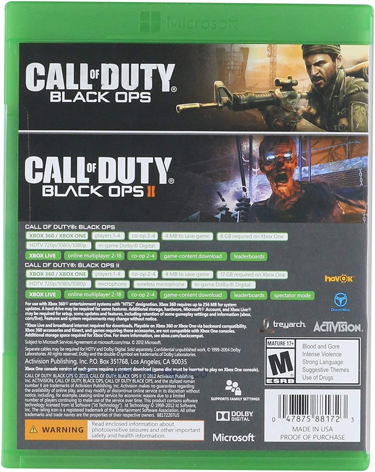 Amazon com: Activision Call of Duty: Black Ops 1 & 2 Combo