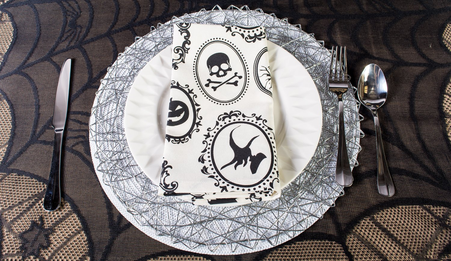 DII Oversized 20x20'' Cotton Napkin, Black & White Halloween Portrait - Perfect for Halloween, Dinner Parties and Scary Movie Nights by DII (Image #9)