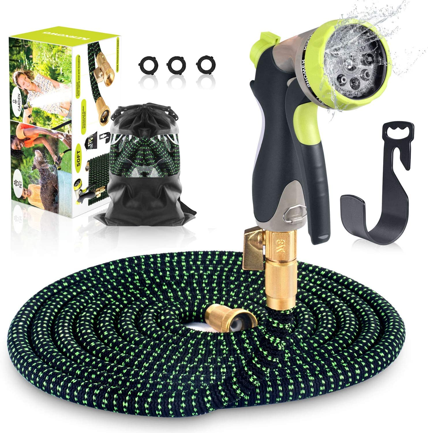 KERNOWO Expandable Garden Water Hose 50ft with 8 Function Nozzle,Solid Brass Fittings,Extra Leakproof Retractable Waterhose,Flexible Gardening Pocket Hoses with Spray Nozzle